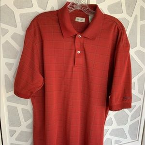 IZOD brunt red box check polo NWOT